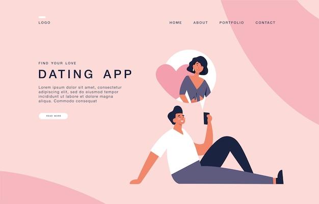 Modello di pagina di destinazione per siti web con giovane in possesso di dispositivo mobile e in chat con la sua ragazza. banner di concetto di applicazione di incontri.
