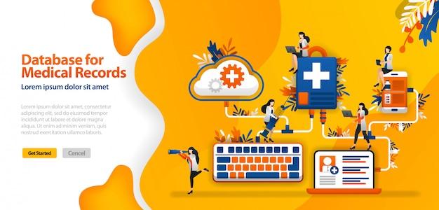 Modello di pagina di destinazione con database cloud per cartelle cliniche e sistemi di comunicazione ospedalieri collegati in wifi, smartphone e laptop