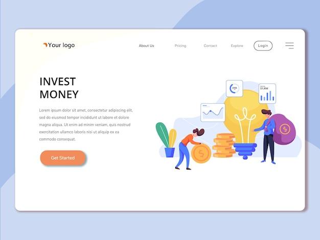 Modello di pagina di destinazione con invest