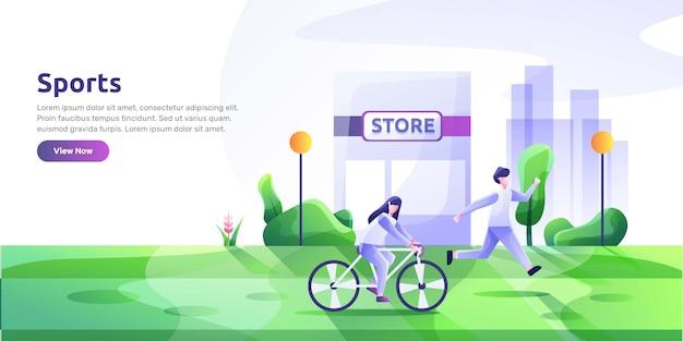 Modello di pagina di destinazione con persone che svolgono attività sportive e cibo sano. abitudini sane, stile di vita attivo, fitness, alimentazione dietetica. illustrazione moderna per la pubblicità.