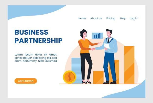 Modello di pagina di destinazione con due persone che si stringono la mano