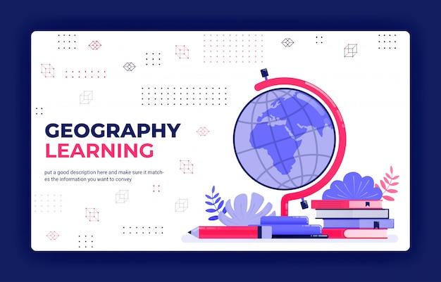 Illustrazione di vettore della pagina di destinazione dell'apprendimento della geografia.