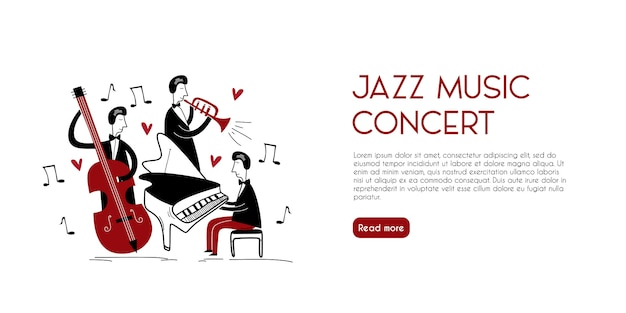 Pagina di destinazione di musicisti jazz vintage con stile infantile disegnato a mano