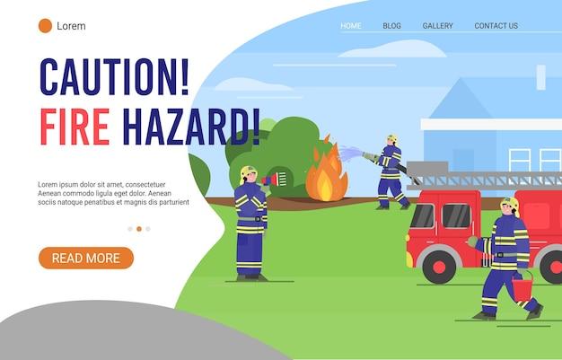 Pagina di destinazione avviso di pericolo di incendio con i vigili del fuoco in indumenti protettivi estinguere gli incendi, piatti