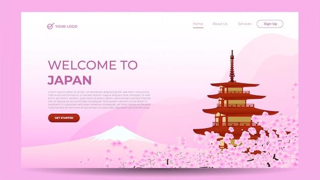 Modello di banner web pagina di destinazione con il benvenuto in giappone tema rosa