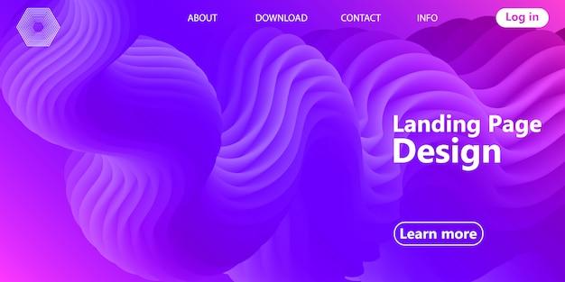 Pagina di destinazione web design con disegno astratto