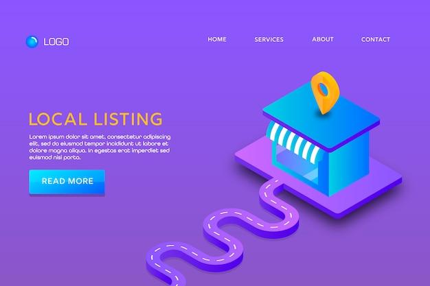 Pagina di destinazione o progettazione di modelli web. elenco locale