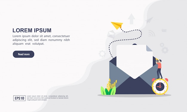Modello web di pagina di destinazione del concetto di email marketing e messaggio