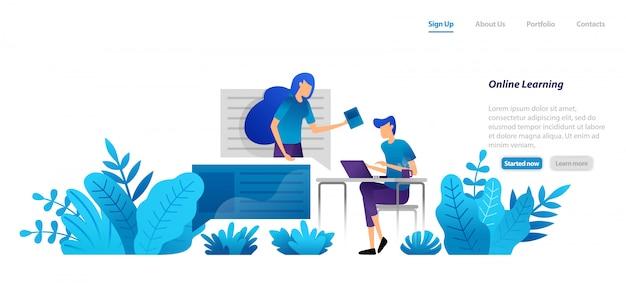 Modello web della pagina di destinazione. apprendimento online da casa con tecnologia internet con tutor professionisti. video homeschooling.
