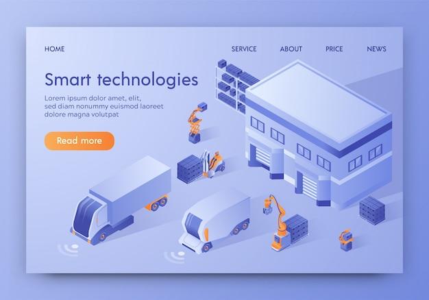 Modello web della pagina di destinazione. veicolo a guida automatica automatica, logistica