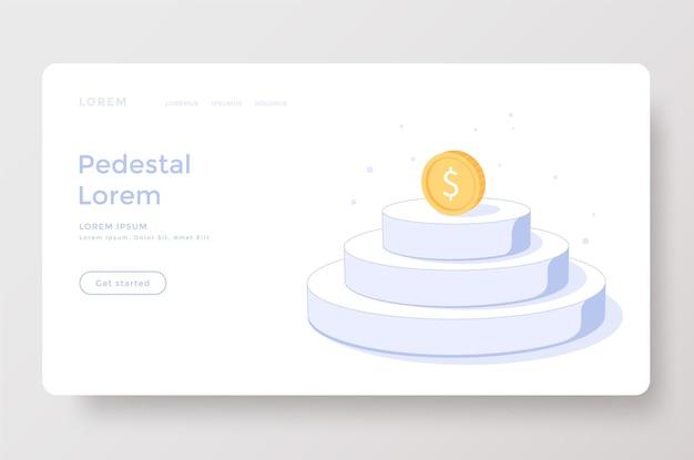 Pagina di destinazione o modello web con moneta sul podio