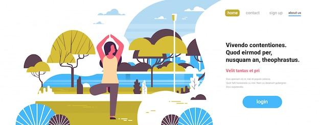Pagina di destinazione o modello web con illustrazione, tema yoga