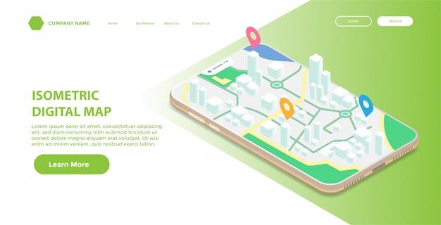 Pagina di destinazione o modello web con illustrazione isometrica della mappa digitale mobile