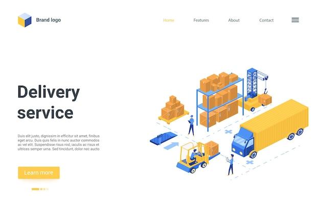 Il design del sito web della pagina di destinazione con i personaggi dei lavoratori dei cartoni animati lavora sul carrello elevatore del caricatore