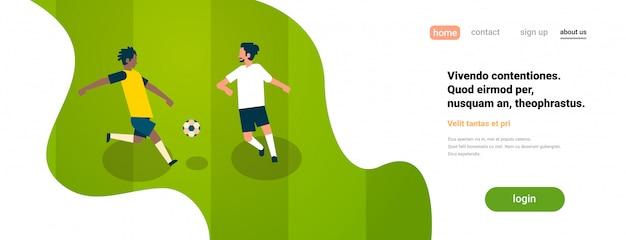 Pagina di destinazione o modello di sito web con illustrazione di calcio, tema dello sport