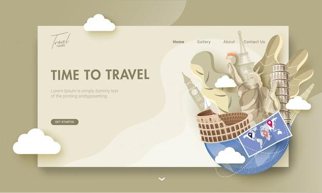 Pagina di destinazione con illustrazione di monumenti famosi di paesi stranieri e mappa del mondo per la giornata mondiale del turismo o time to travel.