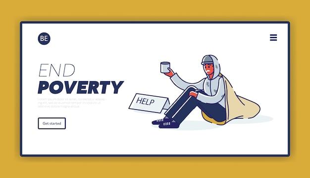 Pagina di destinazione con il concetto di povertà e senzatetto uomo afroamericano che elemosina soldi