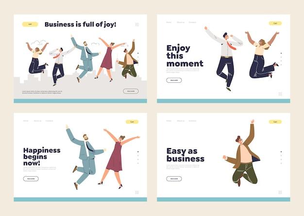Pagine di destinazione impostate con il successo aziendale e il concetto di celebrazione