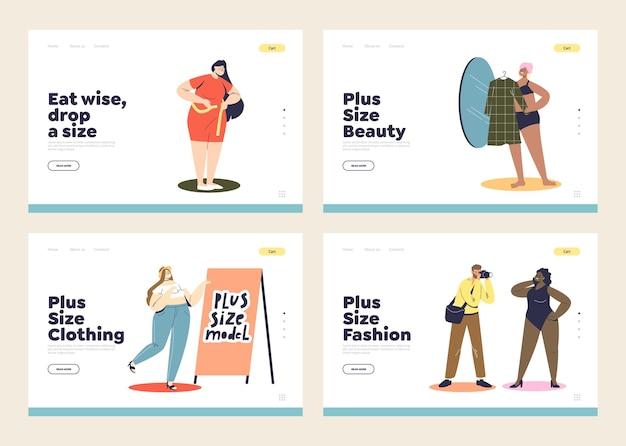 Pagine di destinazione con donne taglie forti che comprano vestiti, dimagriscono e modellano. figura femminile e concetto di accettazione del corpo.
