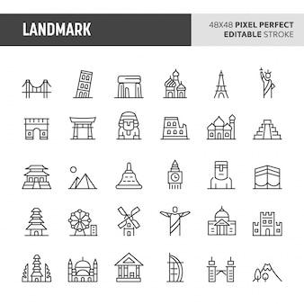 Set di icone punto di riferimento
