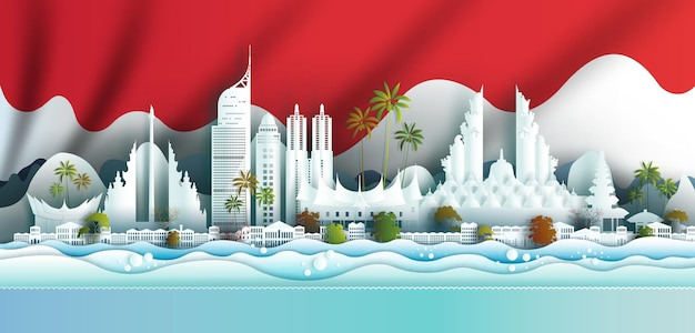 Celebrazione dell'anniversario dell'illustrazione del punto di riferimento giornata dell'indonesia con bandiera indonesiana