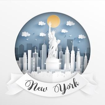 Punto di riferimento di new york, in america.