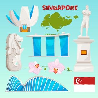 Set di icone di punti di riferimento di singapore. oggetti culturali del fumetto isolano su bianco.