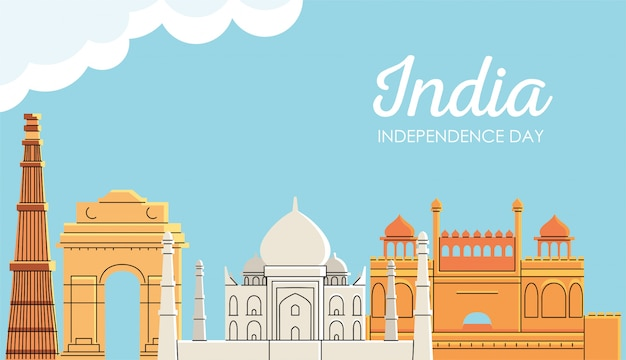 Posti dei punti di riferimento con le nuvole della festa dell'indipendenza dell'india