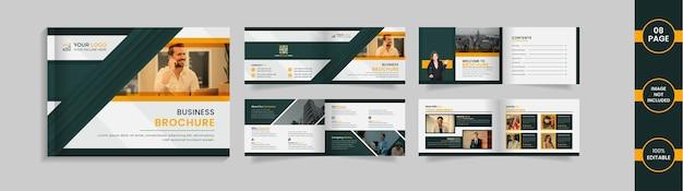 Modello di progettazione brochure orizzontale di 8 pagine con forme e informazioni astratte verdi e gialle.