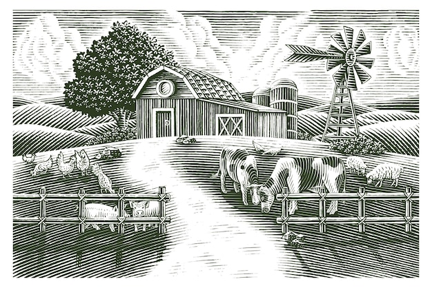 Paesaggio della fattoria degli animali disegnare a mano vintage stile di incisione in bianco e nero clip art isolati su sfondo bianco