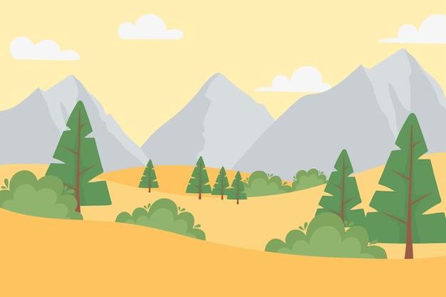 Paesaggio arido alberi a terra montagne rocciose nuvole di cielo illustrazione