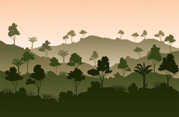 Atmosfera paesaggistica degli alberi tropicali