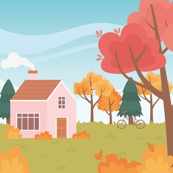 Paesaggio in natura autunnale, casa con alberi di bicicletta camino lascia uno scenario