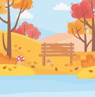 Paesaggio in scena di natura autunnale, panchina parco lago funghi foglie di alberi in erba