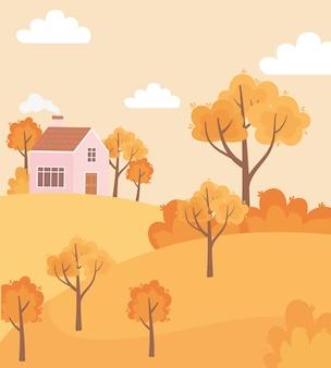 Paesaggio nella scena della natura di autunno, cespugli di alberi rurali della casa di campagna panoramica