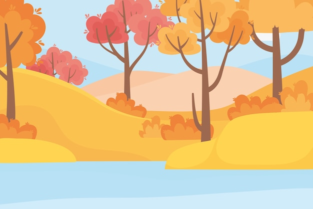 Paesaggio nella scena della natura di autunno, erba degli alberi della foresta e lago
