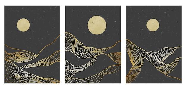 Progettazione di sfondo del paesaggio con motivo artistico linea montagna dorata. modello astratto con motivo geometrico. illustrazione vettoriale