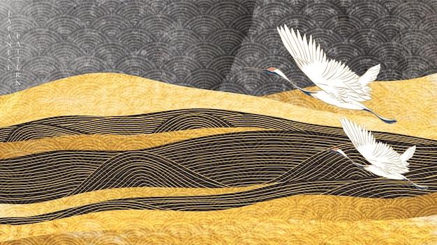 Sfondo del paesaggio con texture oro. onda disegnata a mano giapponese con uccelli gru e montagna in stile vintage.