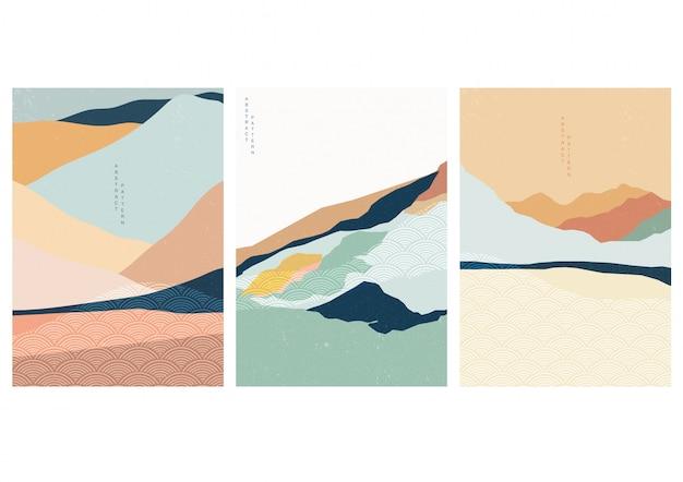 Sfondo paesaggio con motivo a onde giapponese. modello astratto con motivo geometrico. progettazione del layout di montagna in stile asiatico.