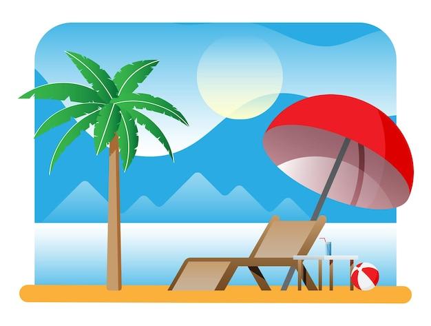 Paesaggio di chaise longue o lettino prendisole, palma sulla spiaggia. ombrellone e tavolo con vetro. sole con riflesso nell'acqua, nuvole. giorno in luogo tropicale. design minimalista. vettore piatto