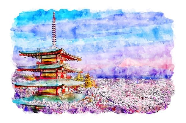 Illustrazione disegnata a mano di schizzo dell'acquerello del giappone della pagoda di chureito del paesaggio