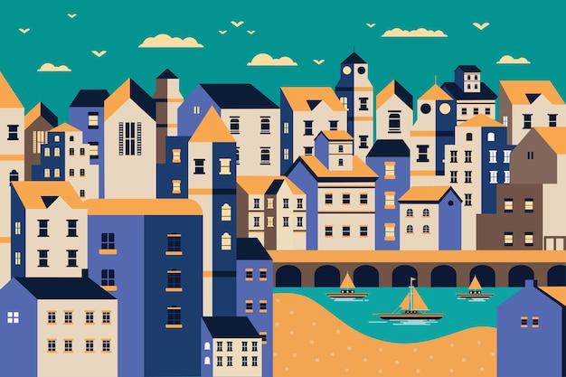 Illustrazione di design piatto della riva del fiume della città del paesaggio