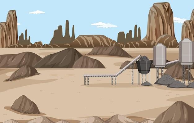 Paesaggio dell'industria mineraria del carbone durante il giorno