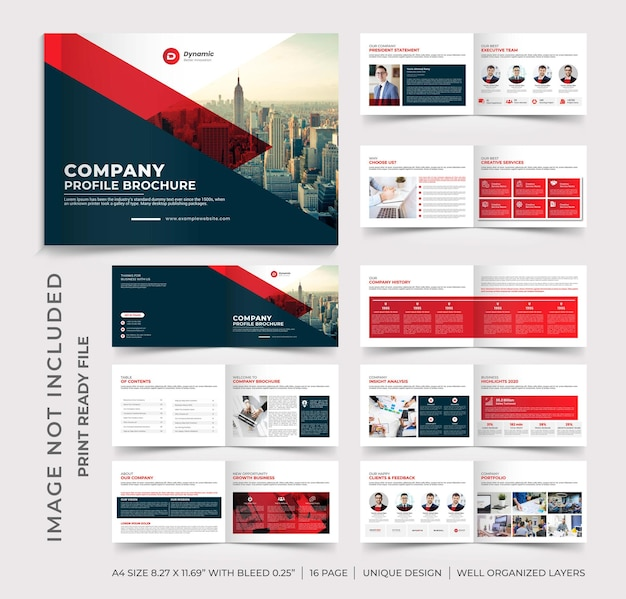 Progettazione di brochure per il profilo aziendale del paesaggio, progettazione di brochure multipagina