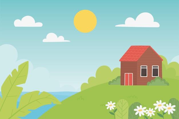 Illustrazione di giorno pieno di sole della foglia dei fiori del prato della casa della campagna del paesaggio
