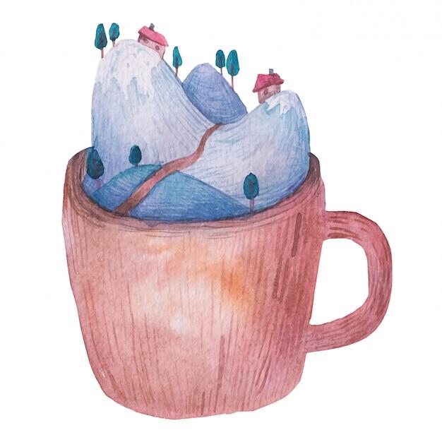 Abbellisca in una tazza, le montagne, illustrazione dell'acquerello degli alberi