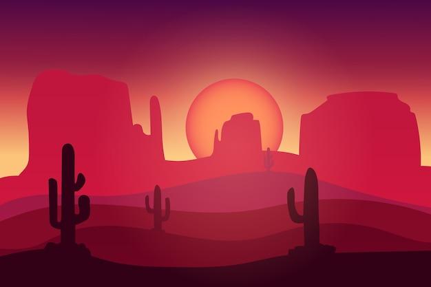 Paesaggio deserto cactus buio atmosfera rosso