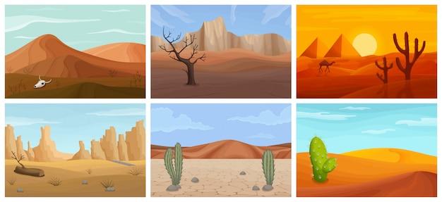 Paesaggio dell'icona stabilita del fumetto del deserto. fumetto isolato imposta icone sahara. illustrazione paesaggio del deserto su sfondo bianco.