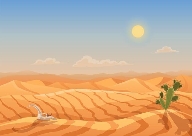 Dune del deserto del paesaggio. montagne dalla sabbia. deserto secco del fumetto sotto il sole, deserto di sabbia infinito. sfondo della natura, illustrazione vettoriale