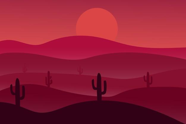 Il paesaggio desertico di notte è rosso